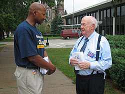 USW member Ron Oliver with John Sweeney