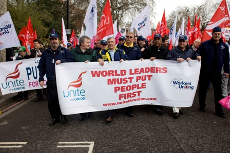 Leo W. Gerard, others at G20 Workers Uniting protest in London.