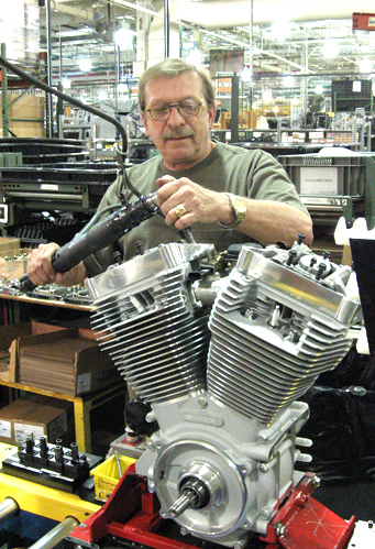 USW member Don Captain builds a Harley-Davidson engine.