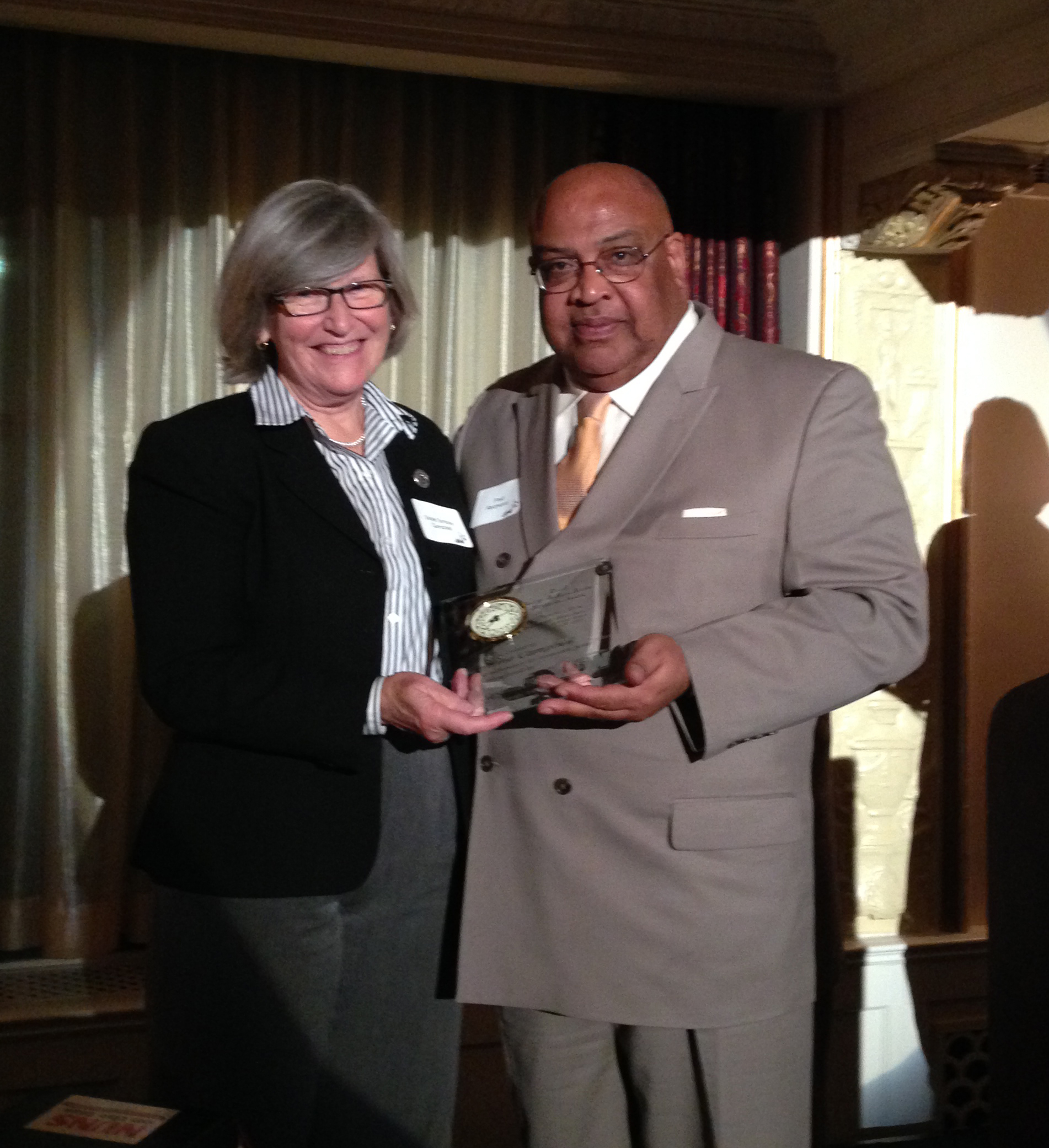 USW International Vice President Fred Redmond and award recipient Sister Simone Campbell