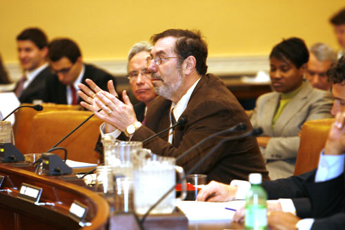 USW International President Leo W. Gerard testifies before the International Trade Commission in Washington, D.C.